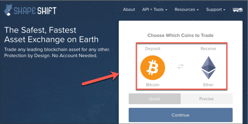 Exchange Bitcoin for Ether