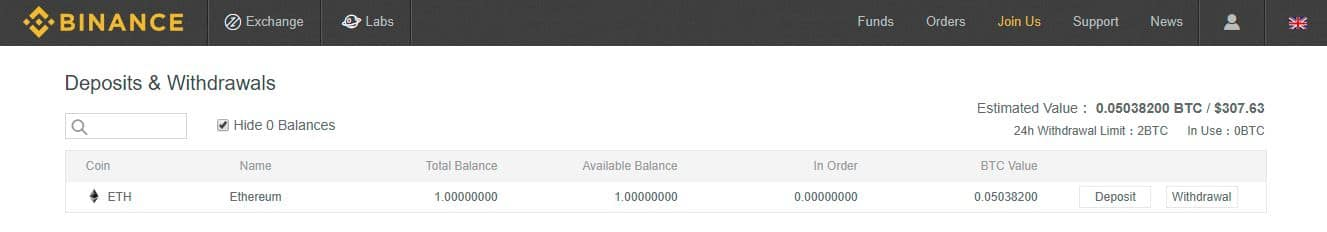 Binance Completed Deposit