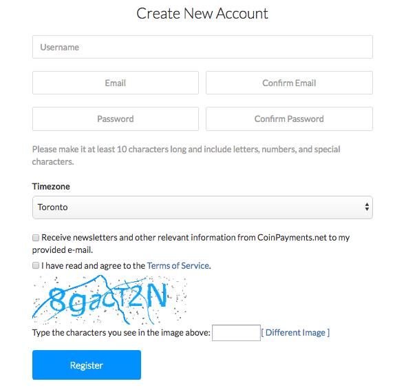 CoinPayments registrace