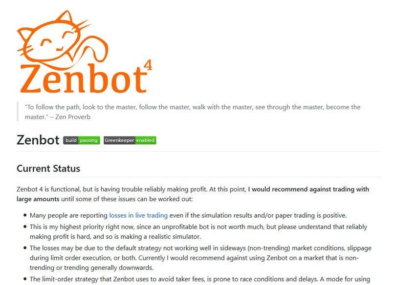 Zenbot - boti na obchodování