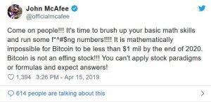 McAfee: Je matematicky nemožné aby nebol Bitcoin za milión USD do 2020
