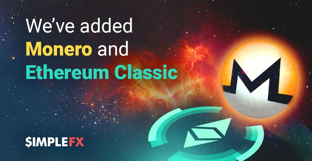 SimpleFX pridáva účty Monero a Ethereum Classic